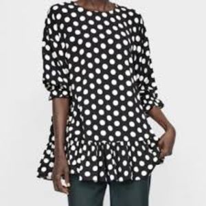 Zara Black & White Polka Dot Tunic